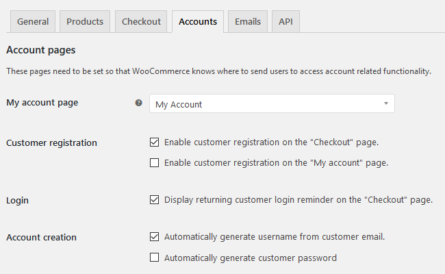 WooCommerce - Settings, Accounts