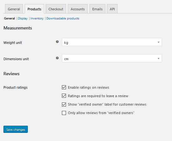 WooCommerce - Settings, Products