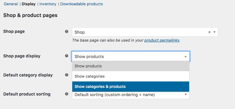 WooCommerce Shop Display Setting