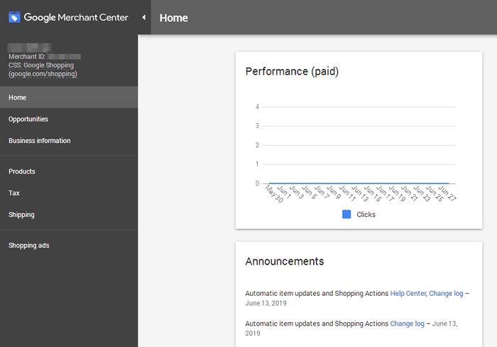 Google Merchant Center - Dashboard