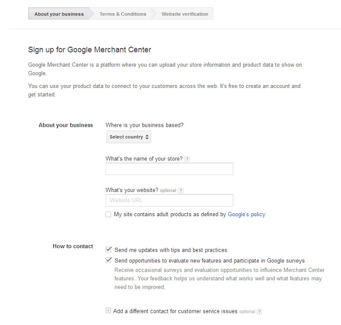 Google Merchant Center - Registration Form