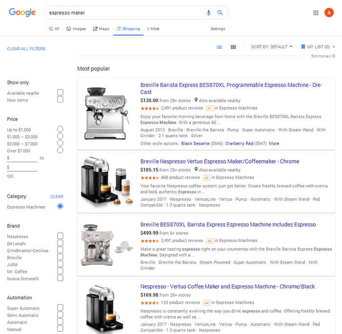Google Shopping - Espresso Maker