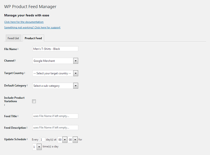 WooCommerce Google Feed Manager - Settings