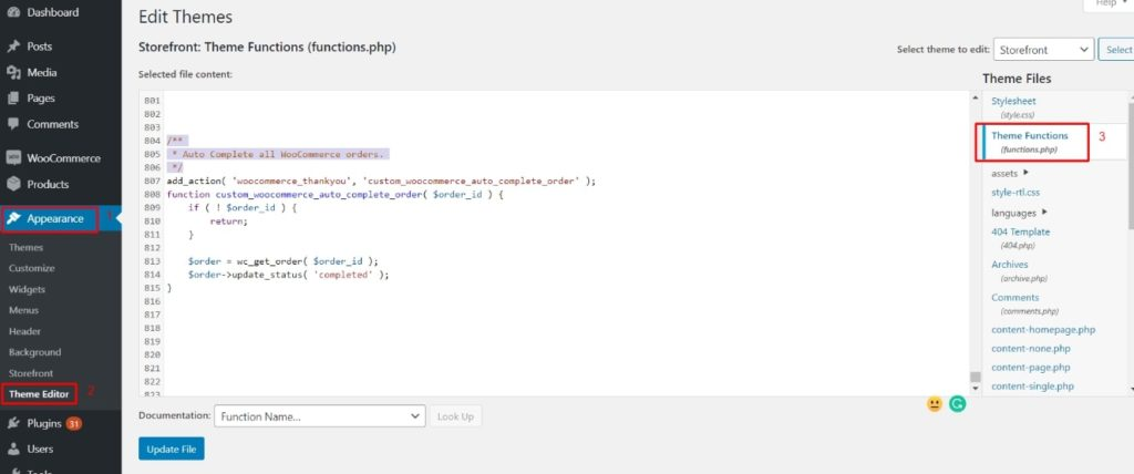 Add code to fuctions php