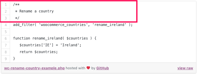 rename country WooCommerce snippet