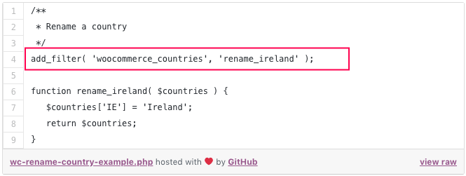 WooCommerce Country Rename Snippet