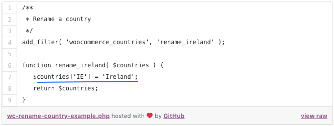 Woocommerce country name snippet