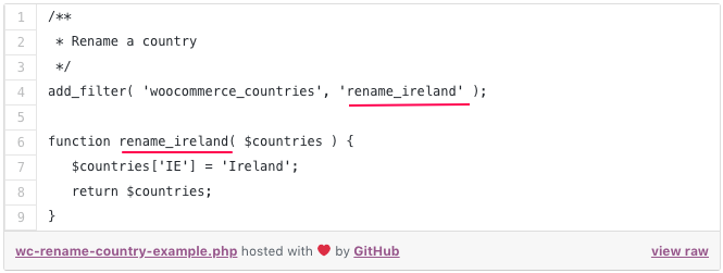 rename country function woocommerce